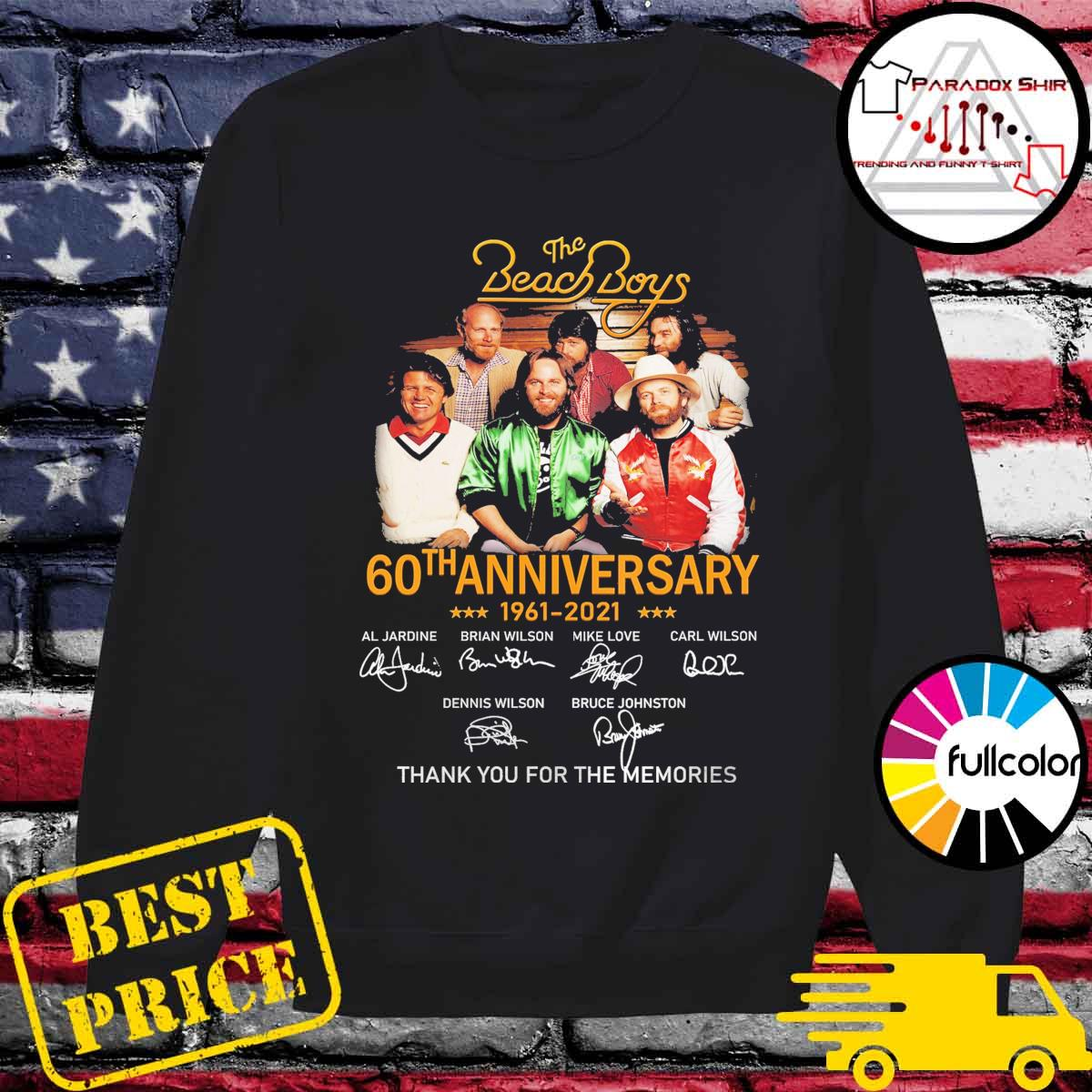The Beach Boys 60th anniversary 1961 2021 signatures thank you for the memories s Sweater