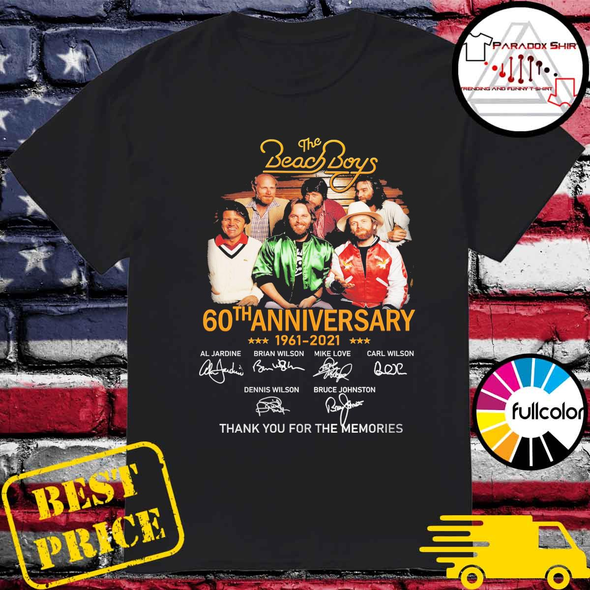 The Beach Boys 60th anniversary 1961 2021 signatures thank you for the memories shirt