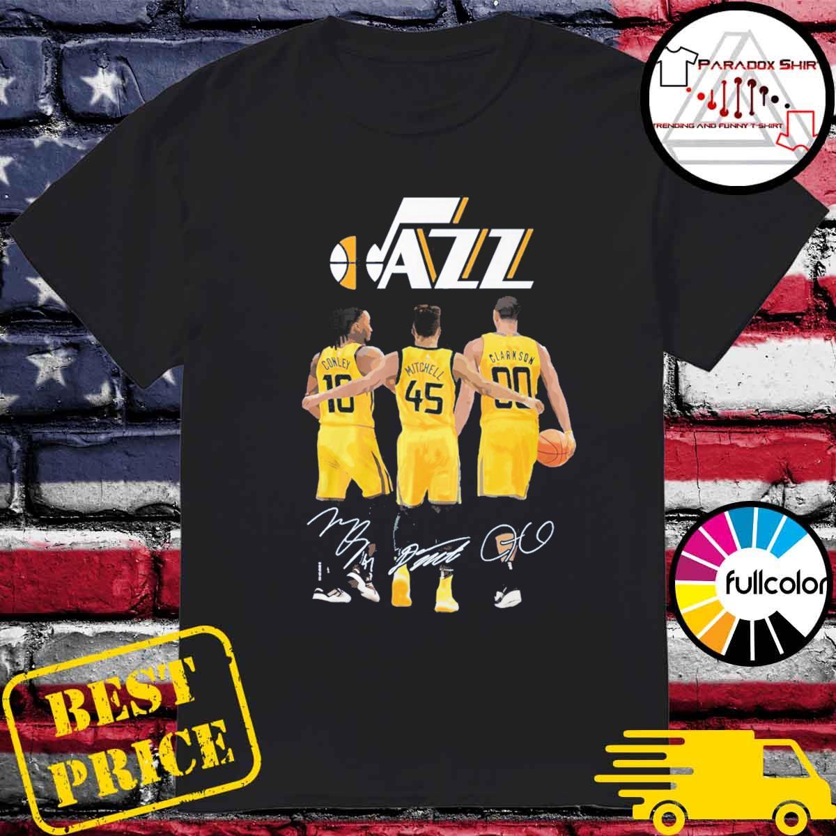 Utah Jazz Conley Mitchell Clarkson signatures shirt