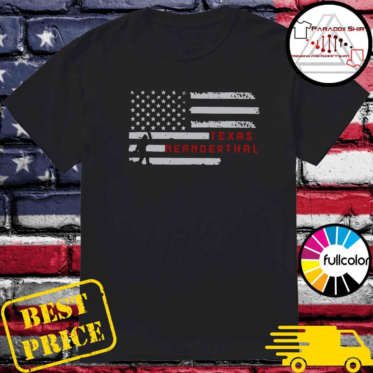 Hello Texas Neanderthal American Flag Shirt