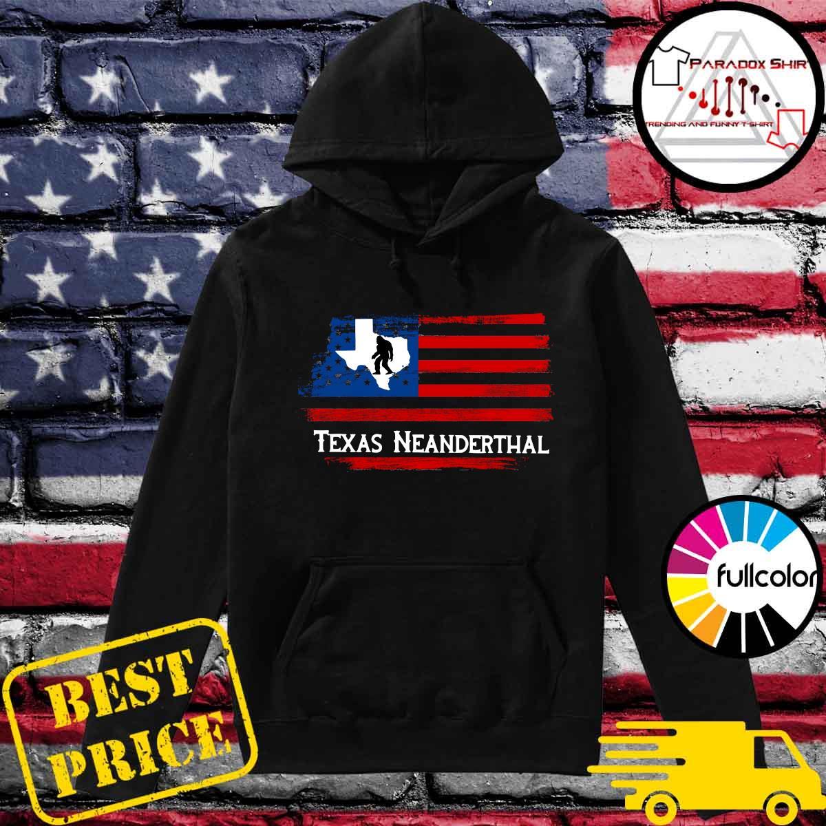 Texas Map - Texas Neanderthal American Flag Shirt Hoodie