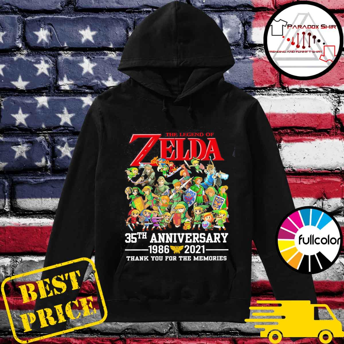 The Legend Of Zelda 35th Anniversary 1986 2021 Thanks For The Memories Shirt Hoodie