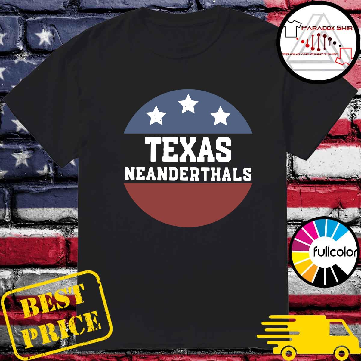 Vintage Texas Neanderthals American Flag Shirt