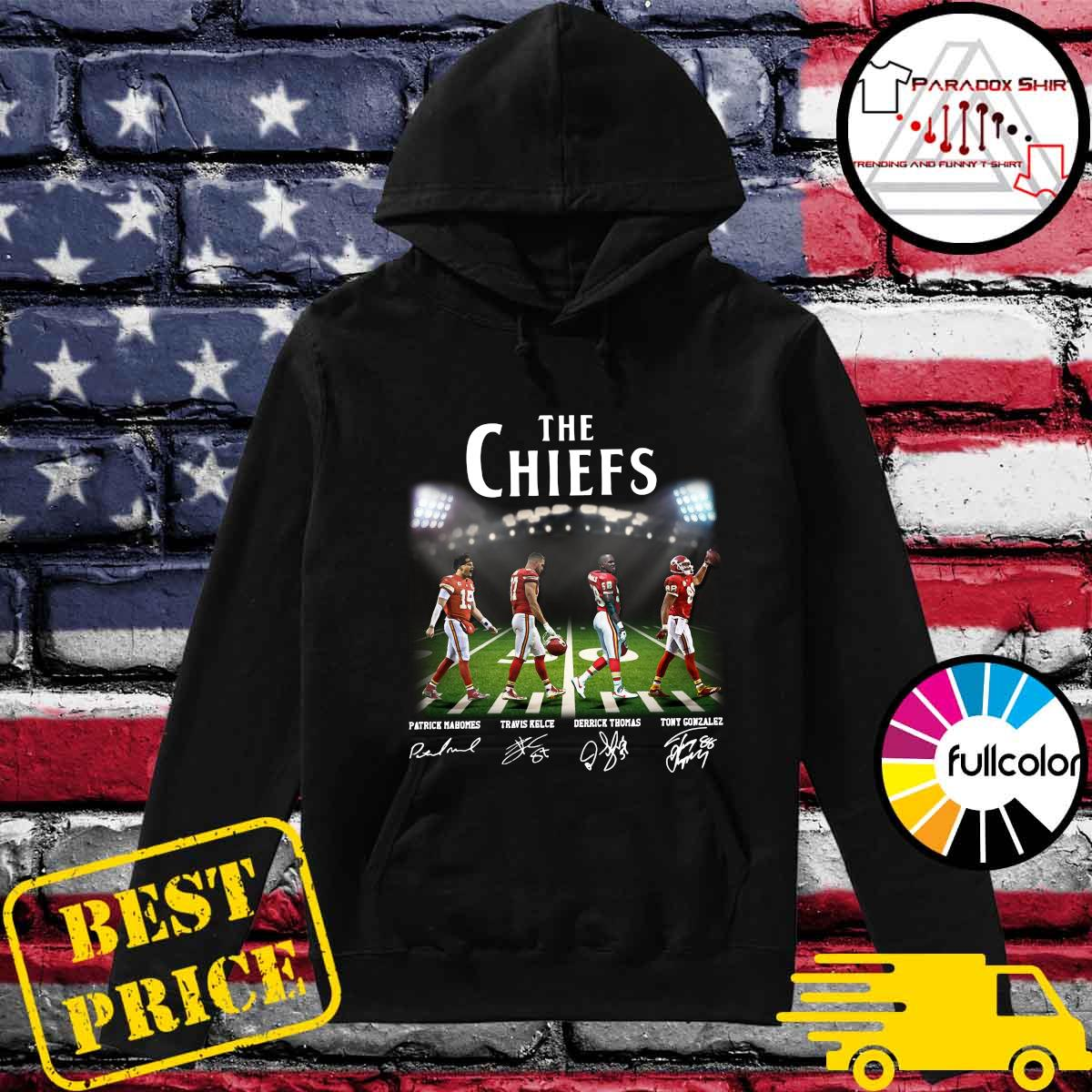 Official Champions The Chiefs With Mahomes Kelce Thomas And Gonzales Abbey Road Shirt Hoodie