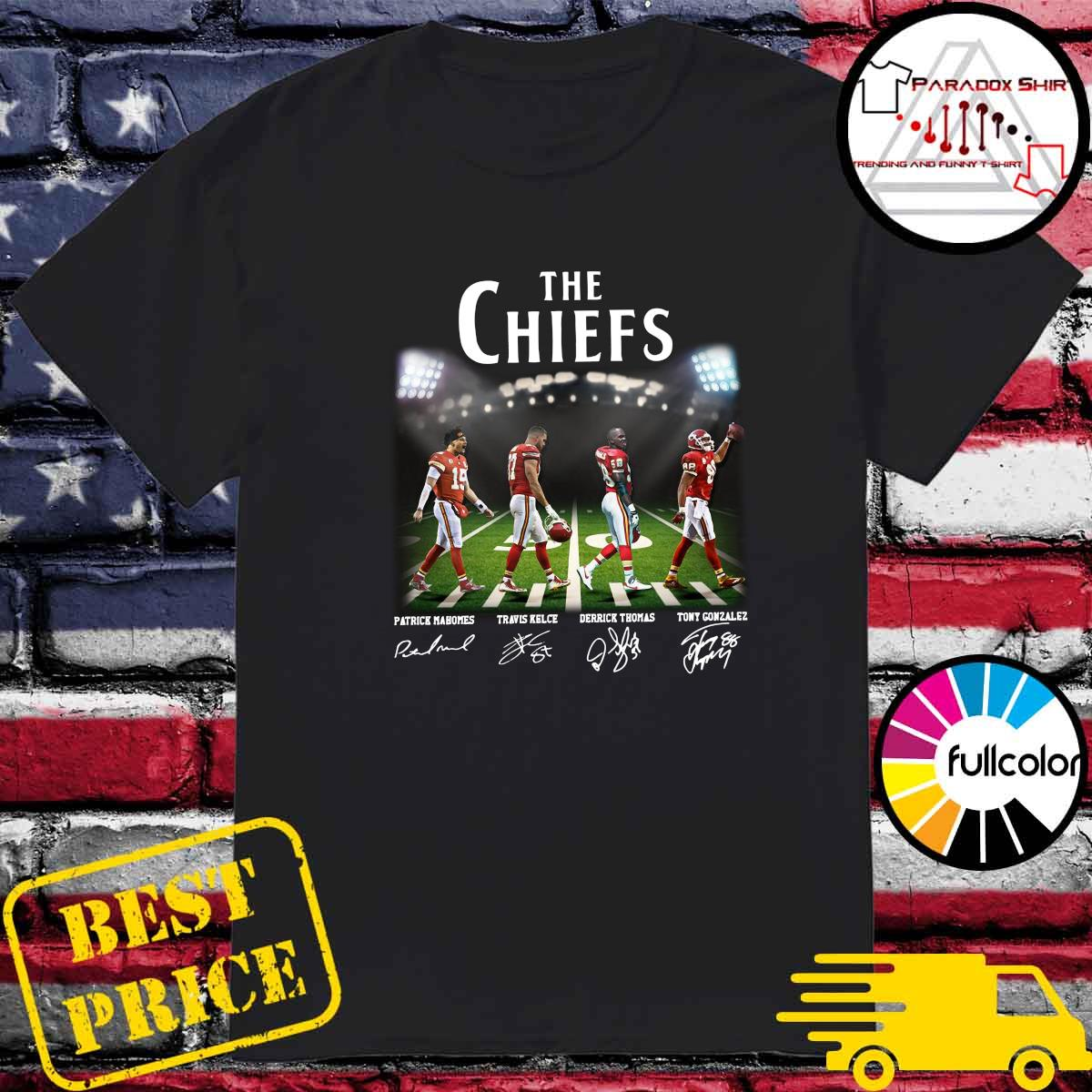 Official Champions The Chiefs With Mahomes Kelce Thomas And Gonzales Abbey Road Shirt