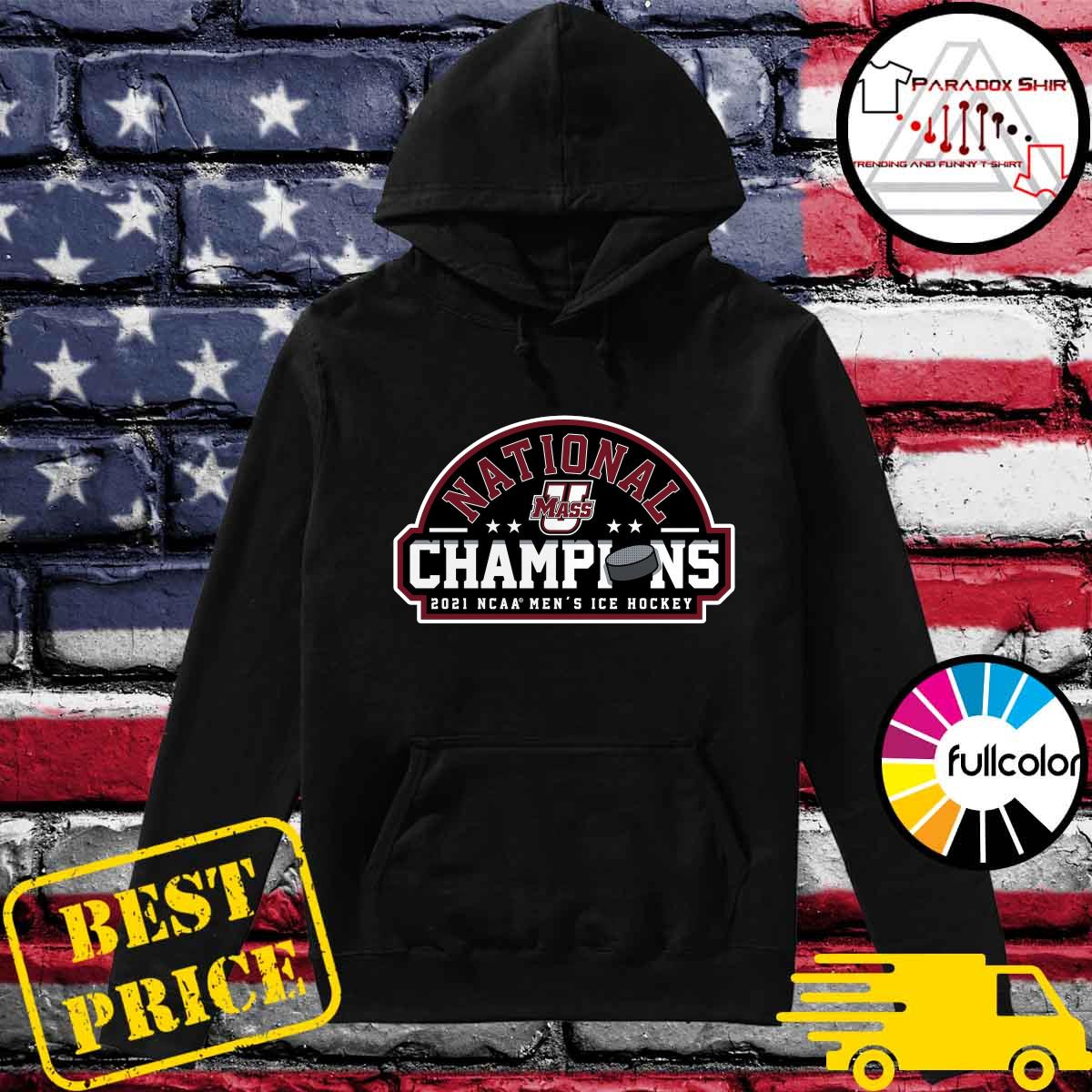 Official UMass Minutemen 2021 NCAA Men's Ice Hockey National Champions Official Logo T-Shirt Hoodie
