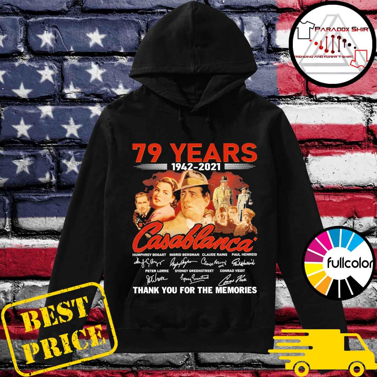 79 years 1942 2021 Casablanca signatures thank you for the memories Hoodie