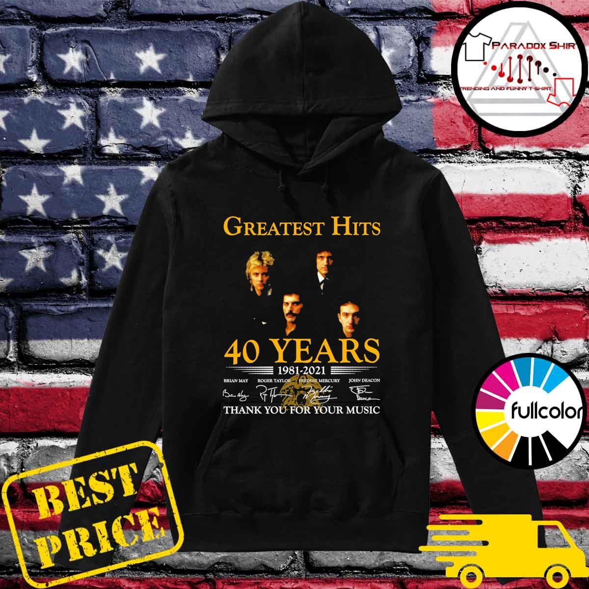 Greatest Hits 40 years 1981 2021 signatures thank you for your music Hoodie