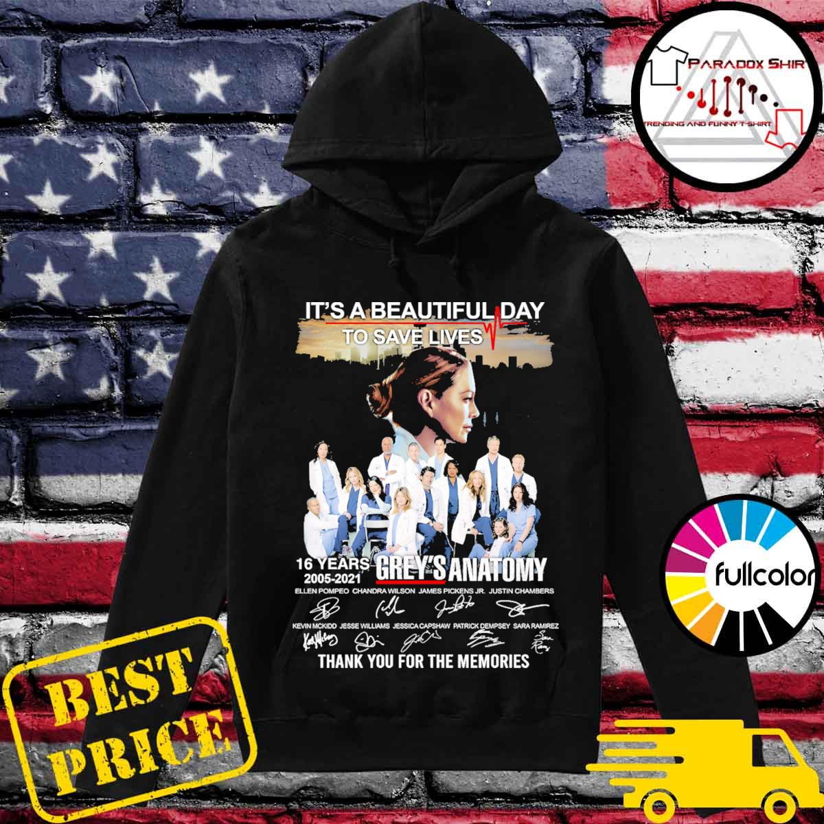 It's a beautiful day to save lives 16 years 2005 2021 Grey's Anatomy signatures thank you for the memories Hoodie