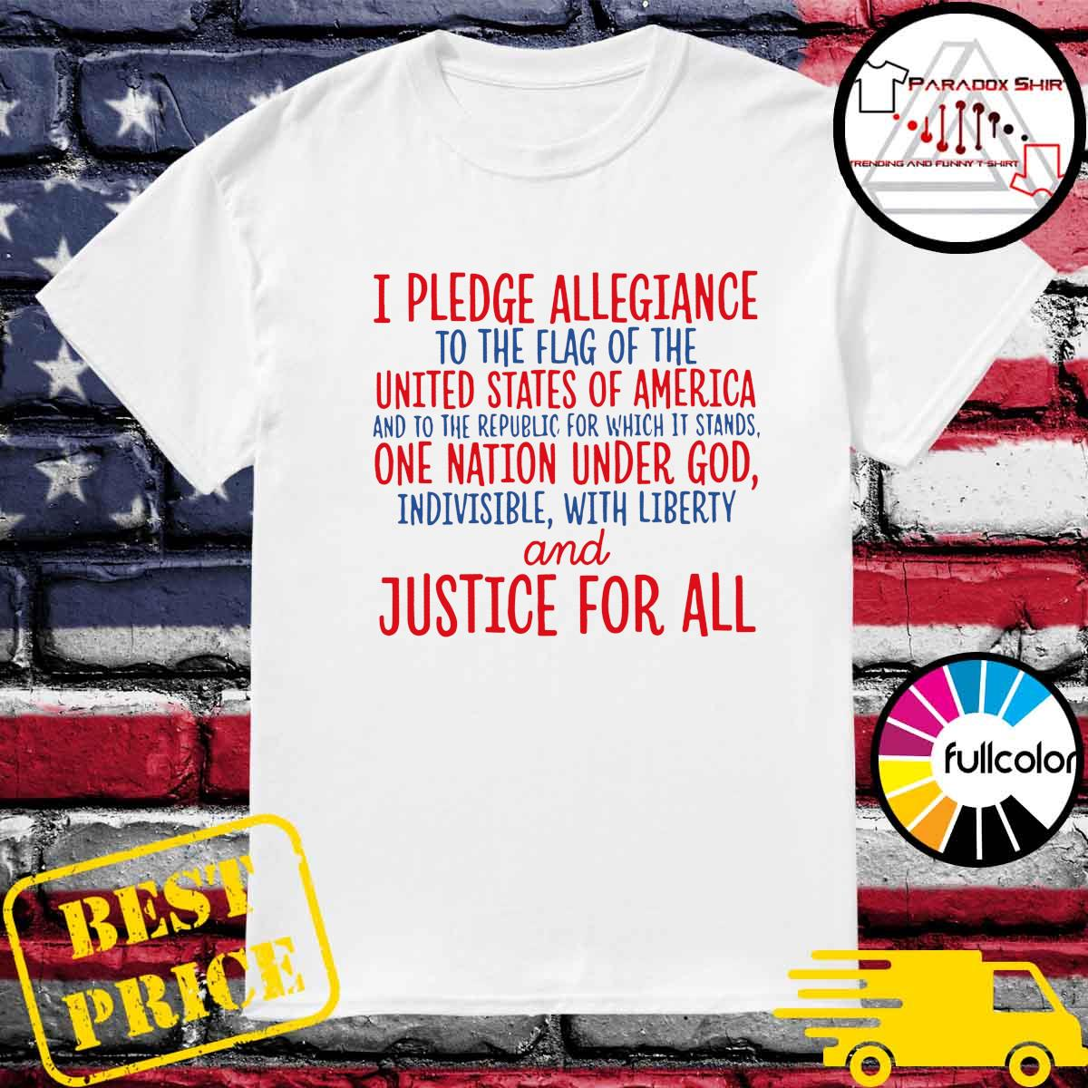 Official Land Of The Free Pledge Of Allegiance To The Flag Of United States Of America Shirt
