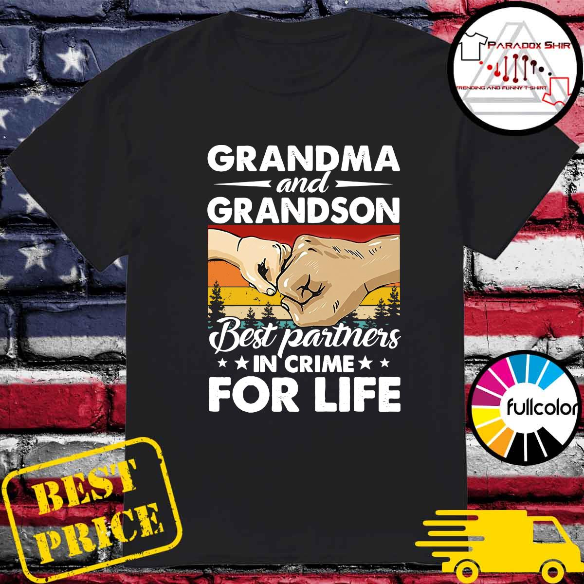 Official Vintage Retro Grandma And Grandson Best Partners In Crime For Life Shirt