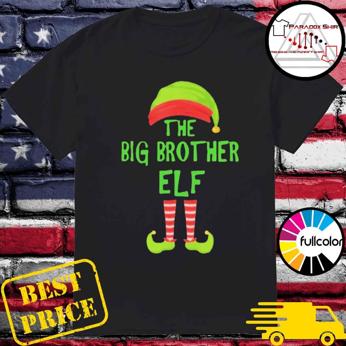 Big brother elf matching family christmas party pajama shirt