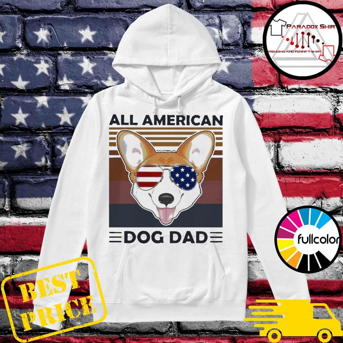 Corgi all American dog dad vintage s Hoodie