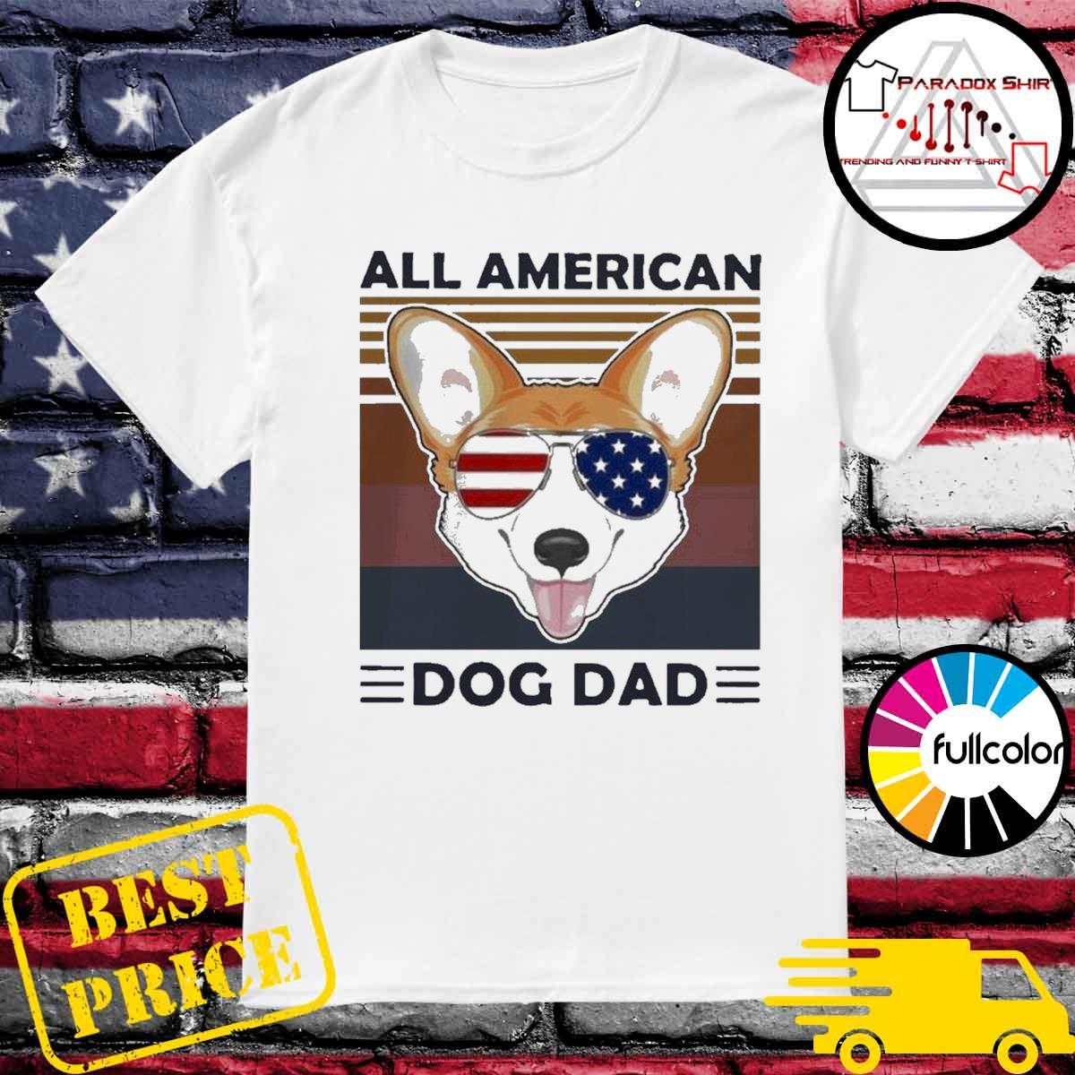 Corgi all American dog dad vintage shirt