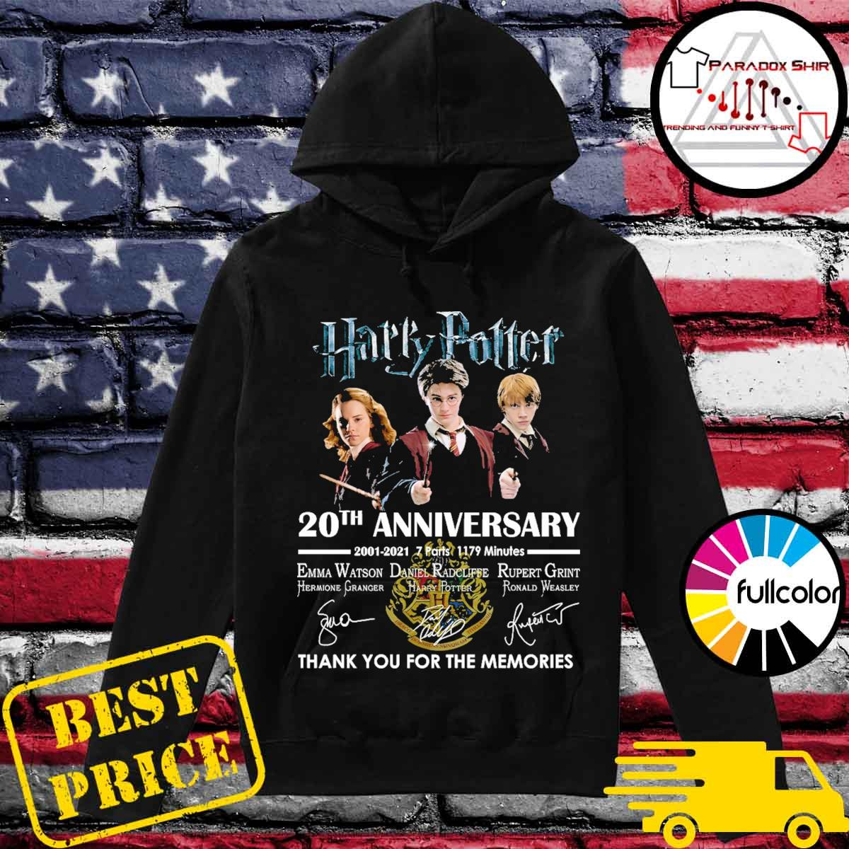 Harry Potter 20th Anniversary 2001 2021 7 parts 1179 minutes signatures thank you for the memories s Hoodie