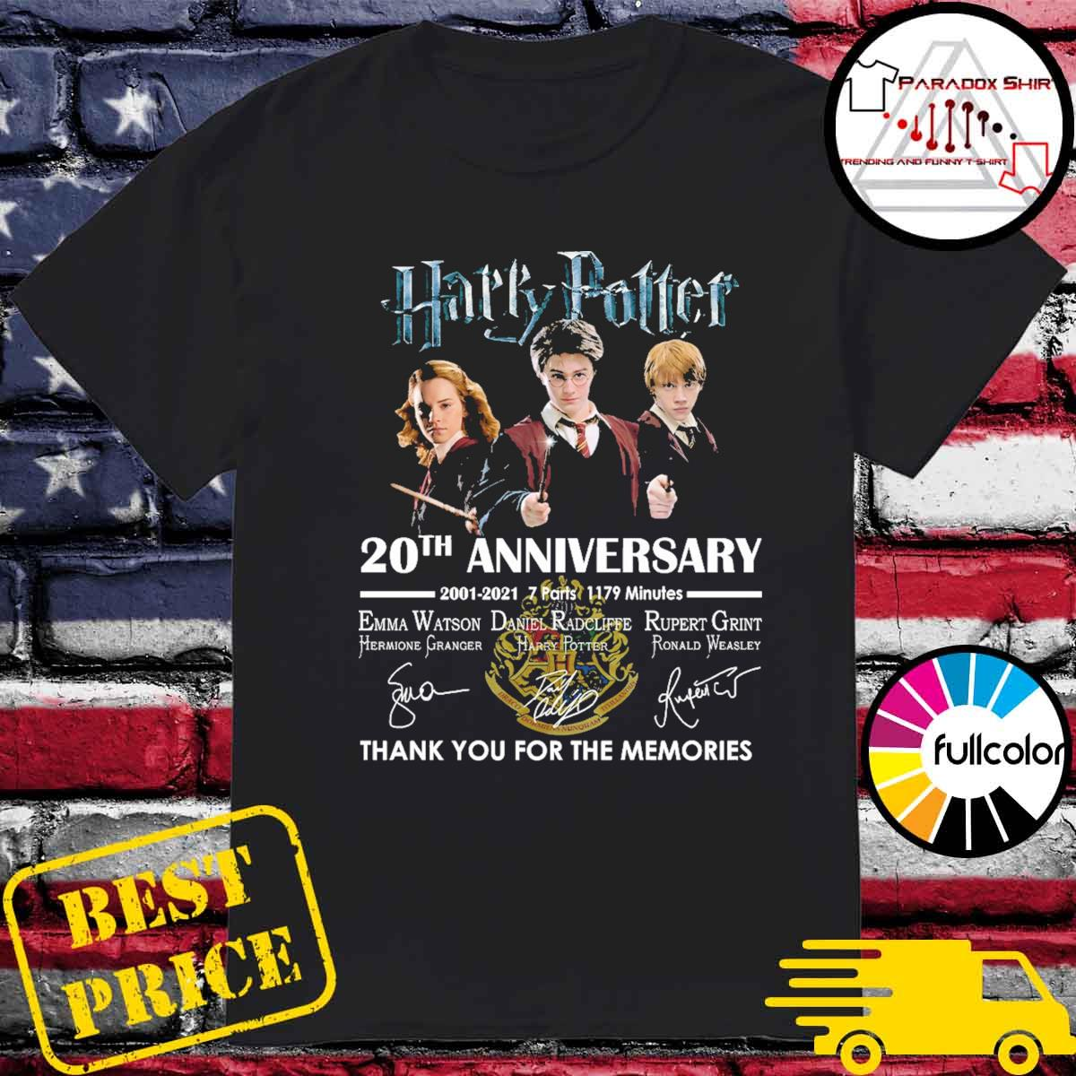 Harry Potter 20th Anniversary 2001 2021 7 parts 1179 minutes signatures thank you for the memories shirt