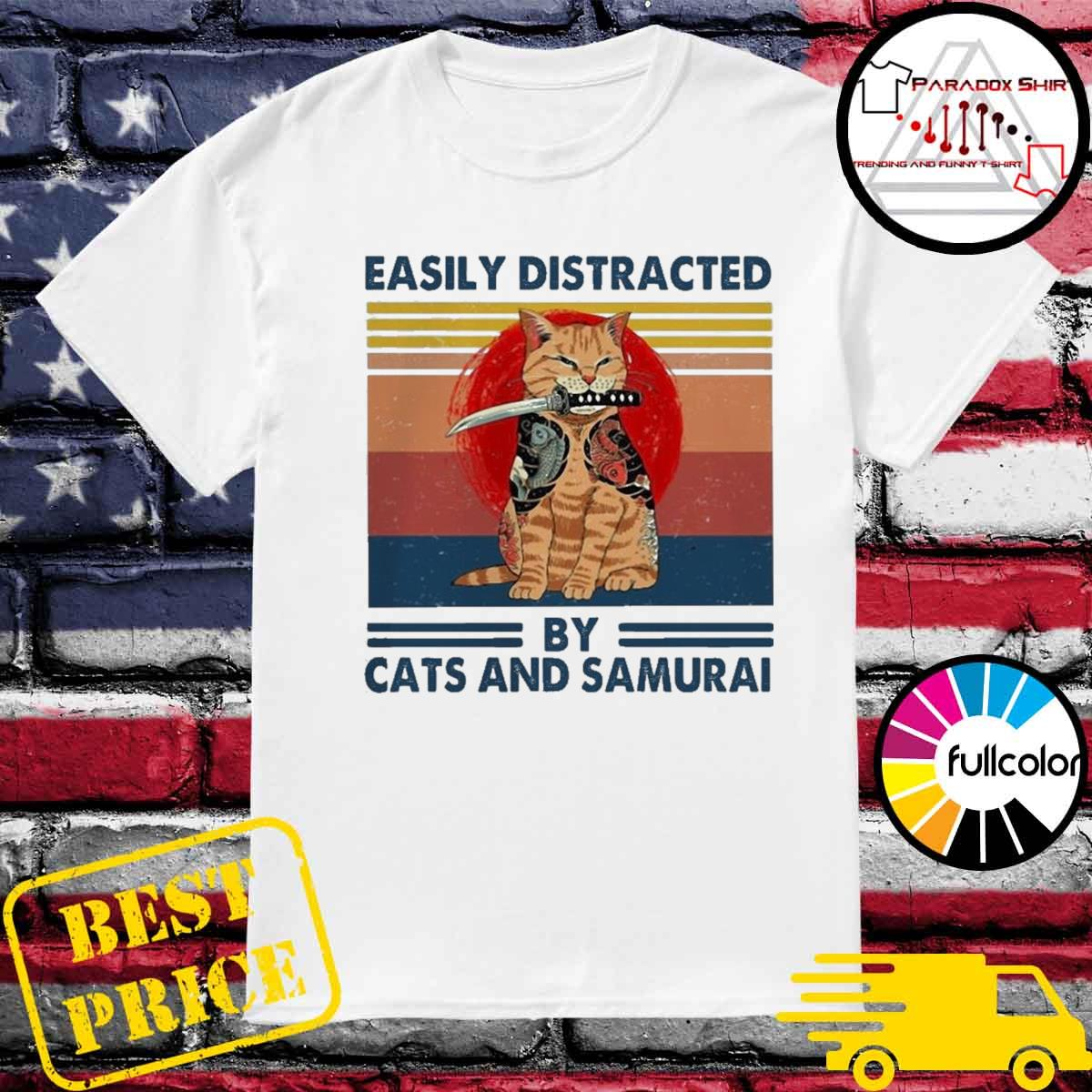 Official easily distracted by cats and samurai vintage shirt