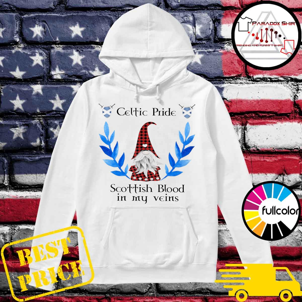 Official Gnome Celtic Pride Scottish Blood in my veins s Hoodie