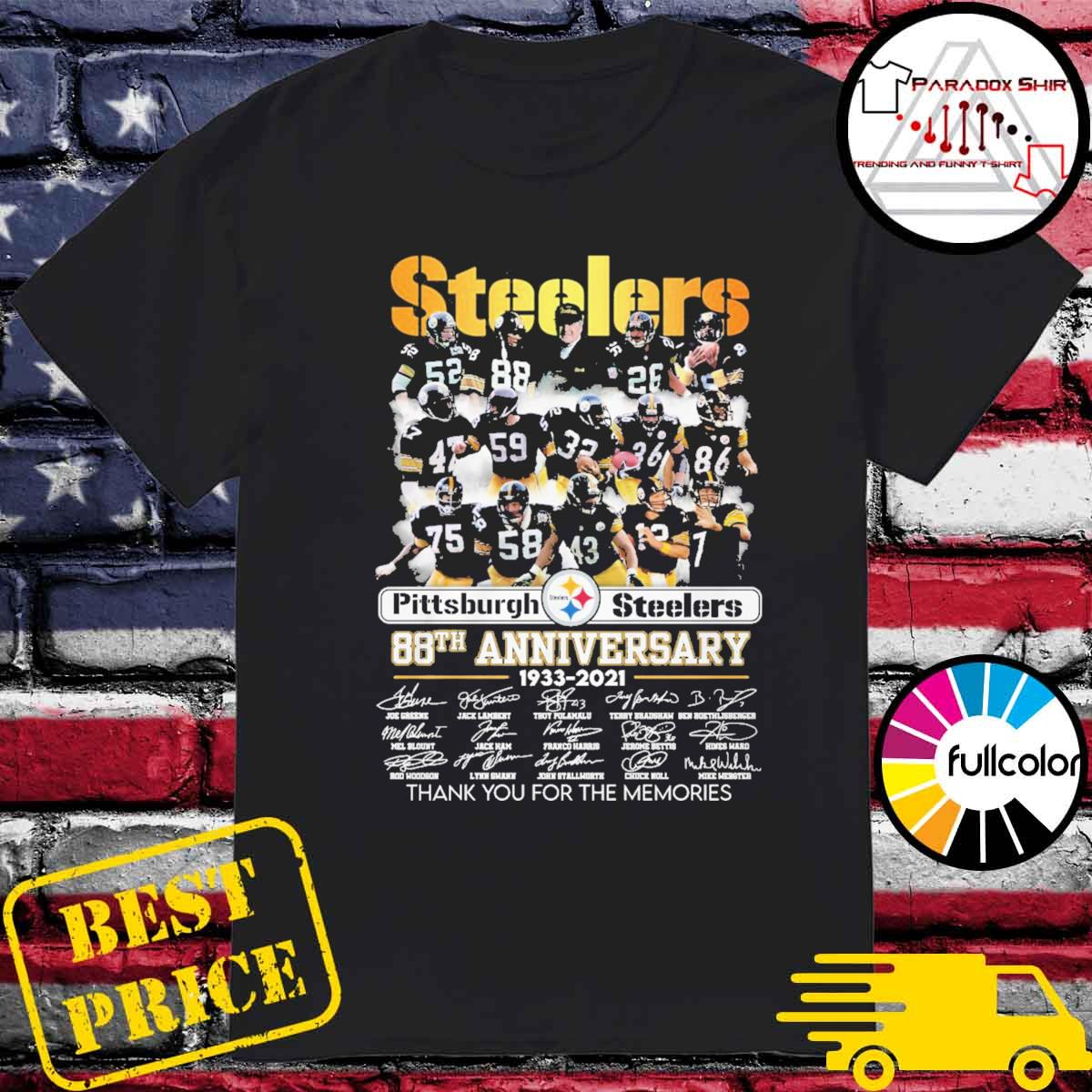 Pittsburgh Steelers 88th Anniversary 1933 2021 signatures thank you for the memories shirt