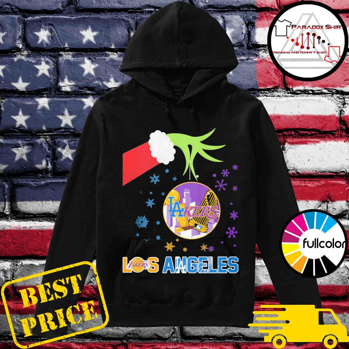 Santa Grinch hand hold Los Angeles Lakers and Dodgers opponent s Hoodie