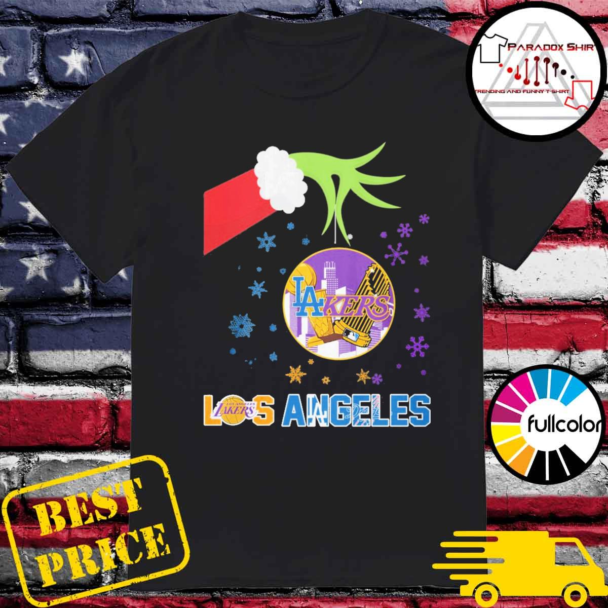 Santa Grinch hand hold Los Angeles Lakers and Dodgers opponent shirt