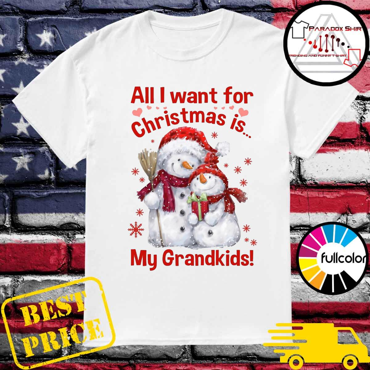 Snowman All I want for Christmas is my grandkids shirt
