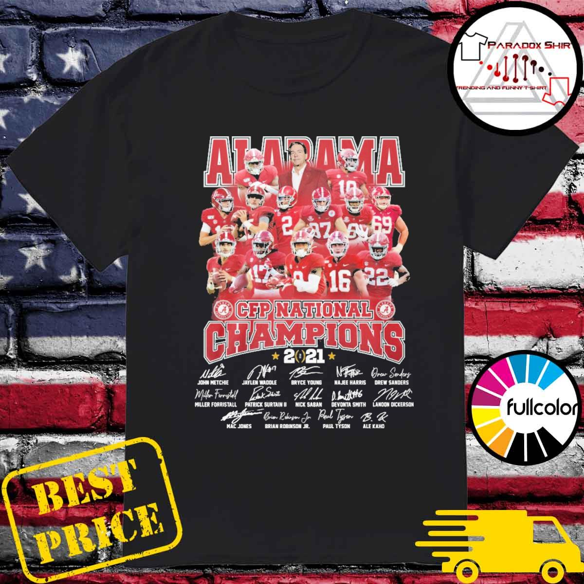 Alabama Crimson Tide CFP National Champions 2021 signatures team shirt