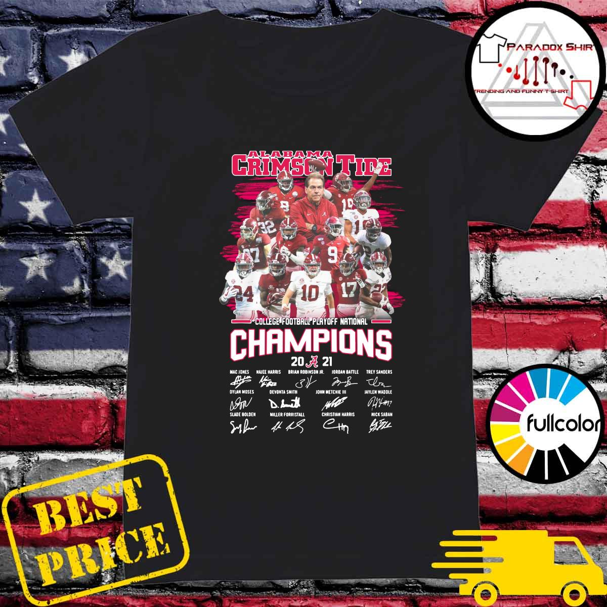 Alabama Crimson Tide College Football Playoff National Champions 2021 Signatures Shirt Ladies