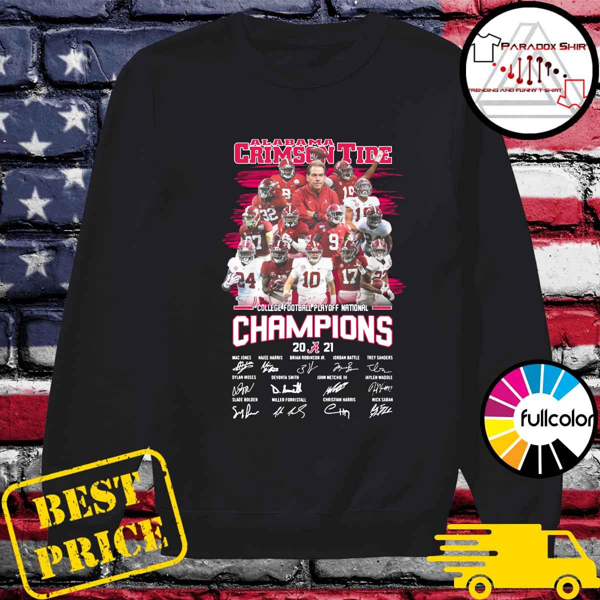Alabama Crimson Tide College Football Playoff National Champions 2021 Signatures Shirt Sweater
