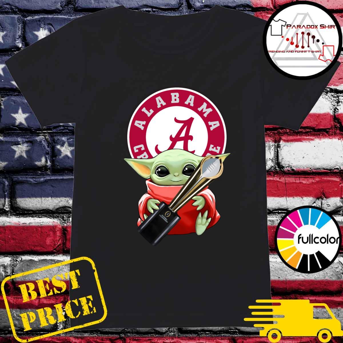 Baby Yoda Hug Cup Alabama Crimson Tide Shirt Ladies