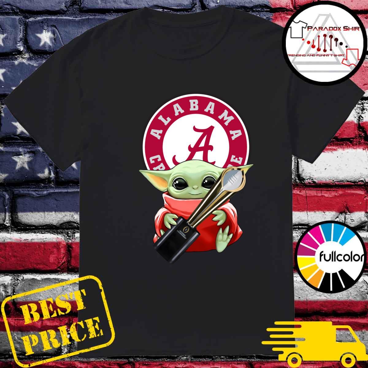 Baby Yoda Hug Cup Alabama Crimson Tide Shirt