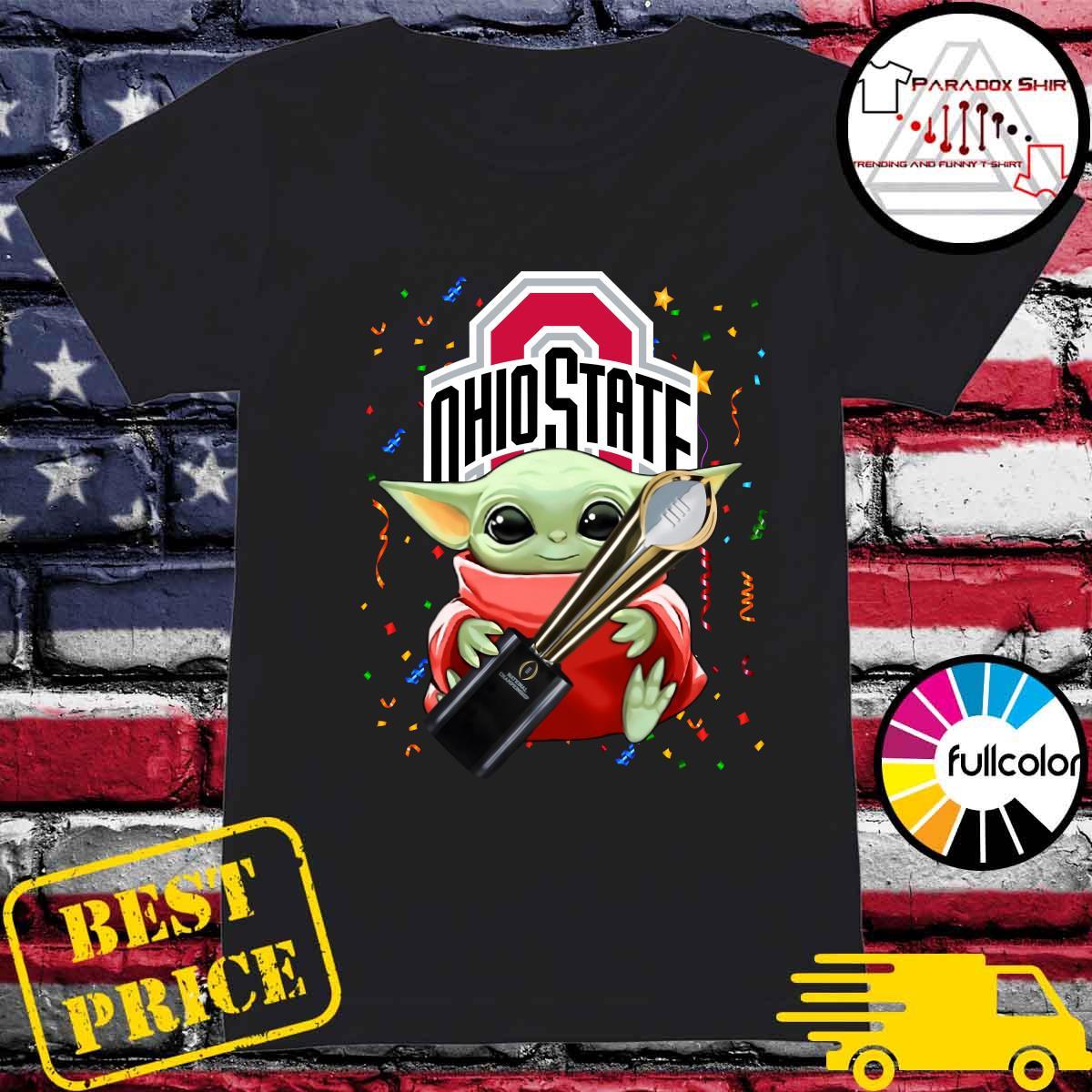 Baby Yoda Hug Cup Ohio State Buckeyes Shirt Ladies