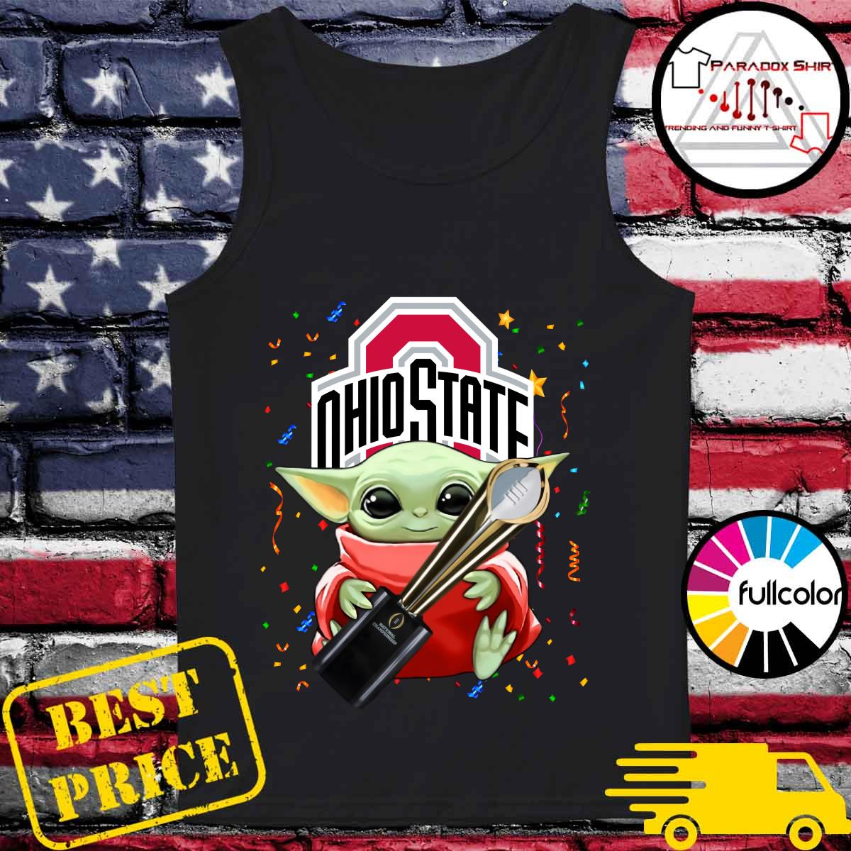 Baby Yoda Hug Cup Ohio State Buckeyes Shirt Tank-top