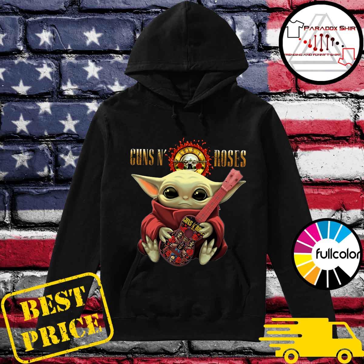 Baby Yoda Hug Guitar Guns N' Roses Rock Band Shirt Hoodie