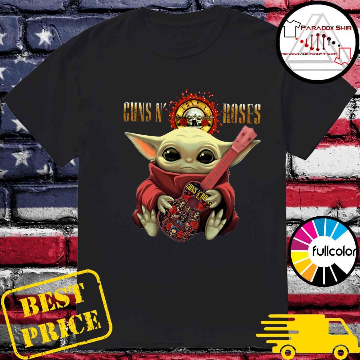 Baby Yoda Hug Guitar Guns N' Roses Rock Band Shirt