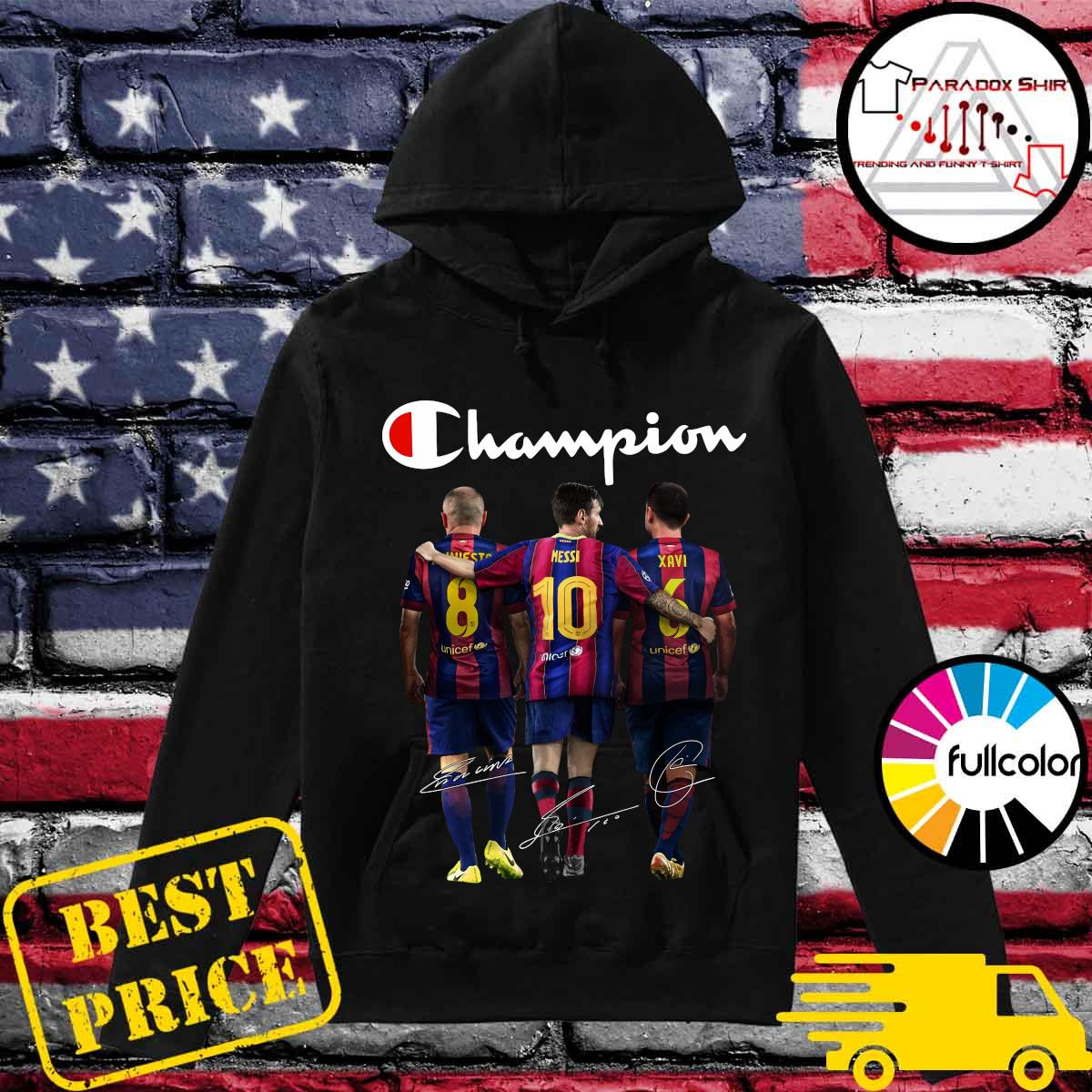 Barcelona Champion Iniesta Messi and Xavi signatures s Hoodie