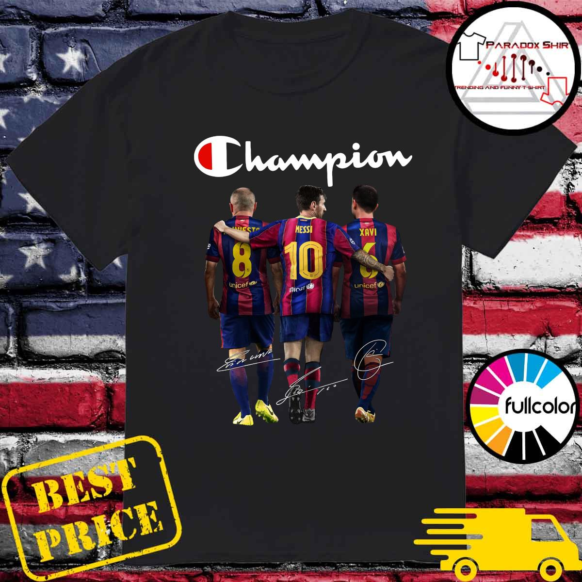 Barcelona Champion Iniesta Messi and Xavi signatures shirt