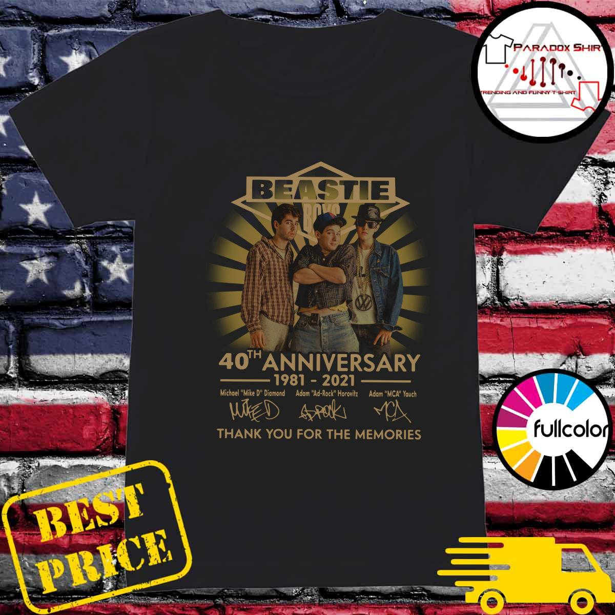 Beastie Boys 40th Anniversary 1981 2021 Thank You For The Memories Signatures Shirt Ladies