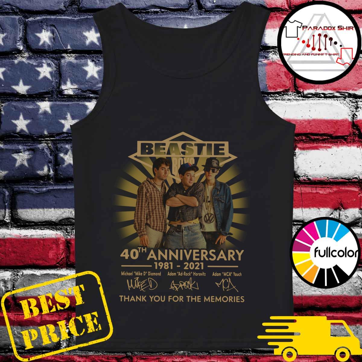 Beastie Boys 40th Anniversary 1981 2021 Thank You For The Memories Signatures Shirt Tank-top
