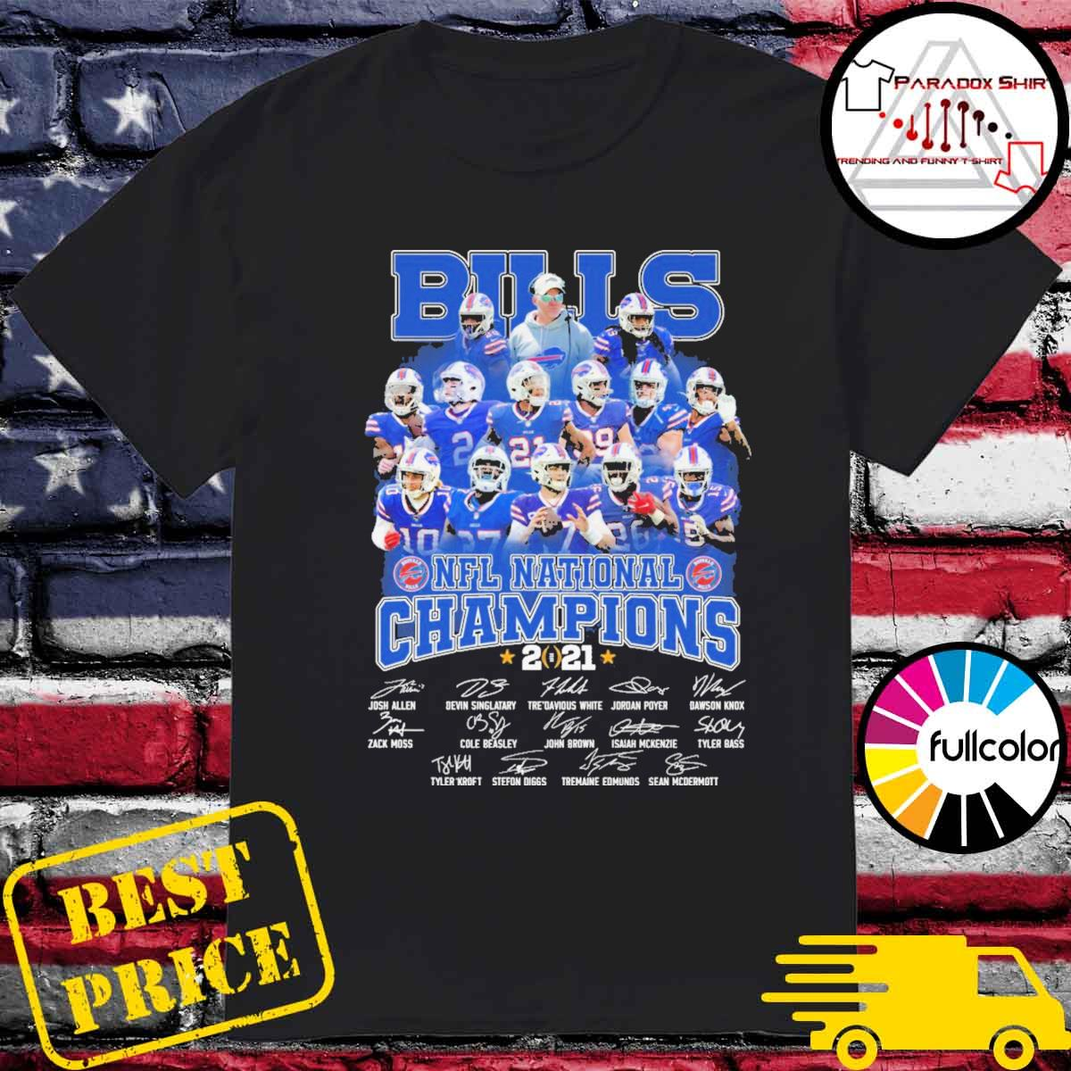 Buffalo Bills NFL National Champions 2021 team signatures shirt