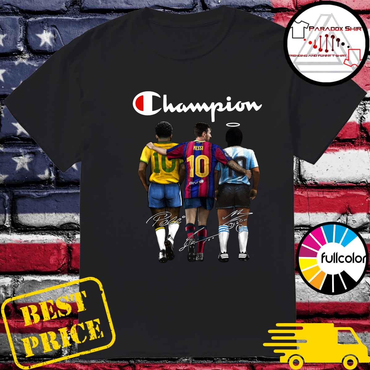 Champion 10 Pelé Lionel Messi Diego Maradona Signatures Shirt