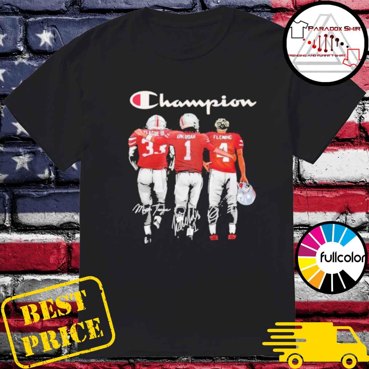 Champion League III Okudah Fleming Ohio State Buckeyes signatures shirt