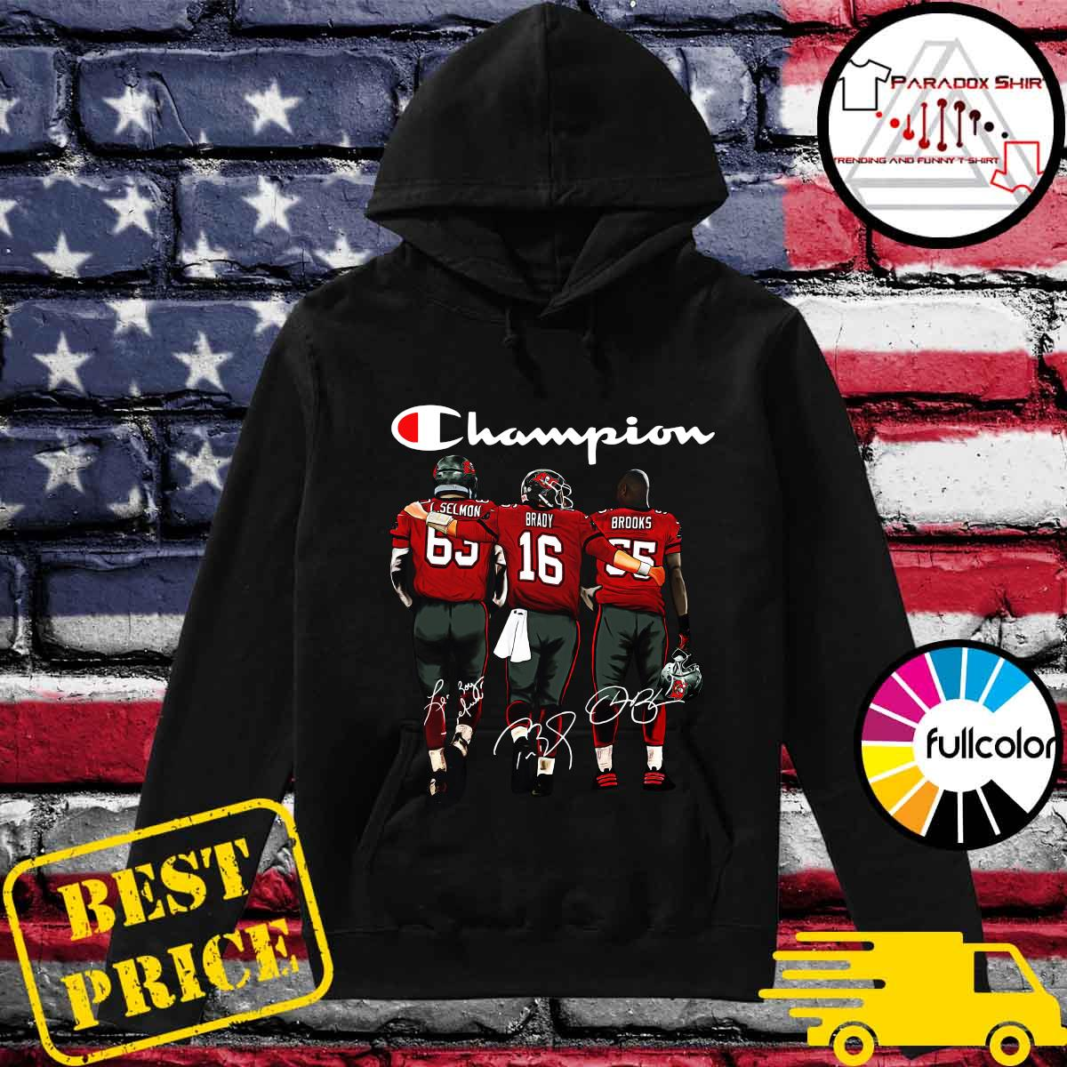 Champion Tampa Bay Buccaneers Lee Roy Selmon 63 Tom Brady 16 Derrick Brooks 55 Signatures Shirt Hoodie