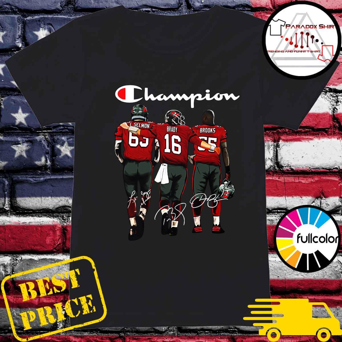 Champion Tampa Bay Buccaneers Lee Roy Selmon 63 Tom Brady 16 Derrick Brooks 55 Signatures Shirt Ladies