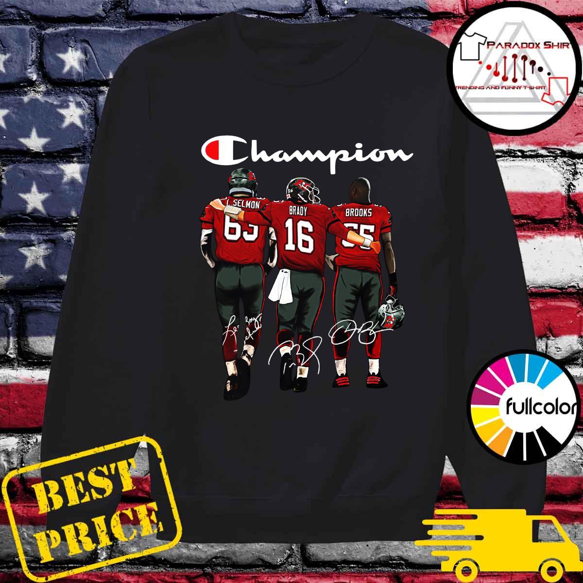 Champion Tampa Bay Buccaneers Lee Roy Selmon 63 Tom Brady 16 Derrick Brooks 55 Signatures Shirt Sweater