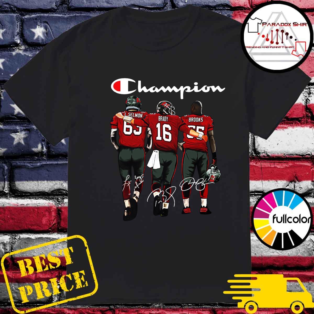 Champion Tampa Bay Buccaneers Lee Roy Selmon 63 Tom Brady 16 Derrick Brooks 55 Signatures Shirt