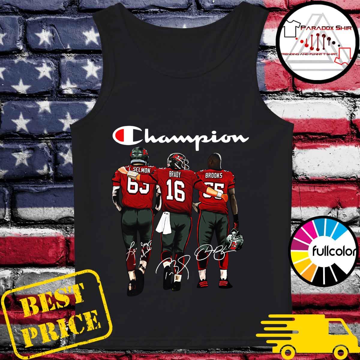 Champion Tampa Bay Buccaneers Lee Roy Selmon 63 Tom Brady 16 Derrick Brooks 55 Signatures Shirt Tank-top