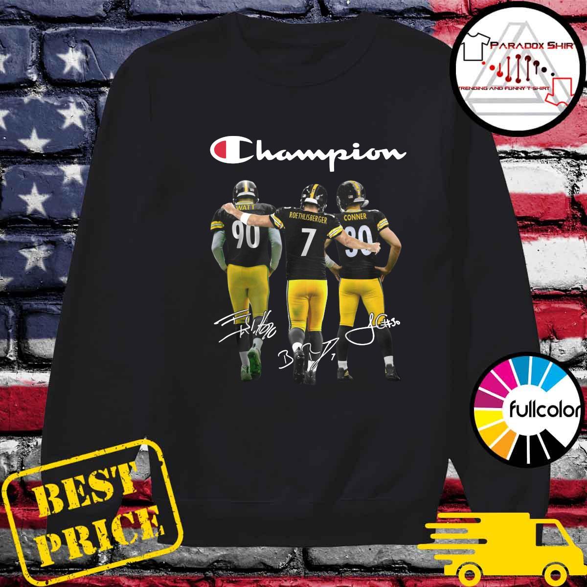 Champions Pittsburgh Steelers T J Watt 90 Ben Roethlisberger 7 James Conner 30 Signatures Shirt Sweater