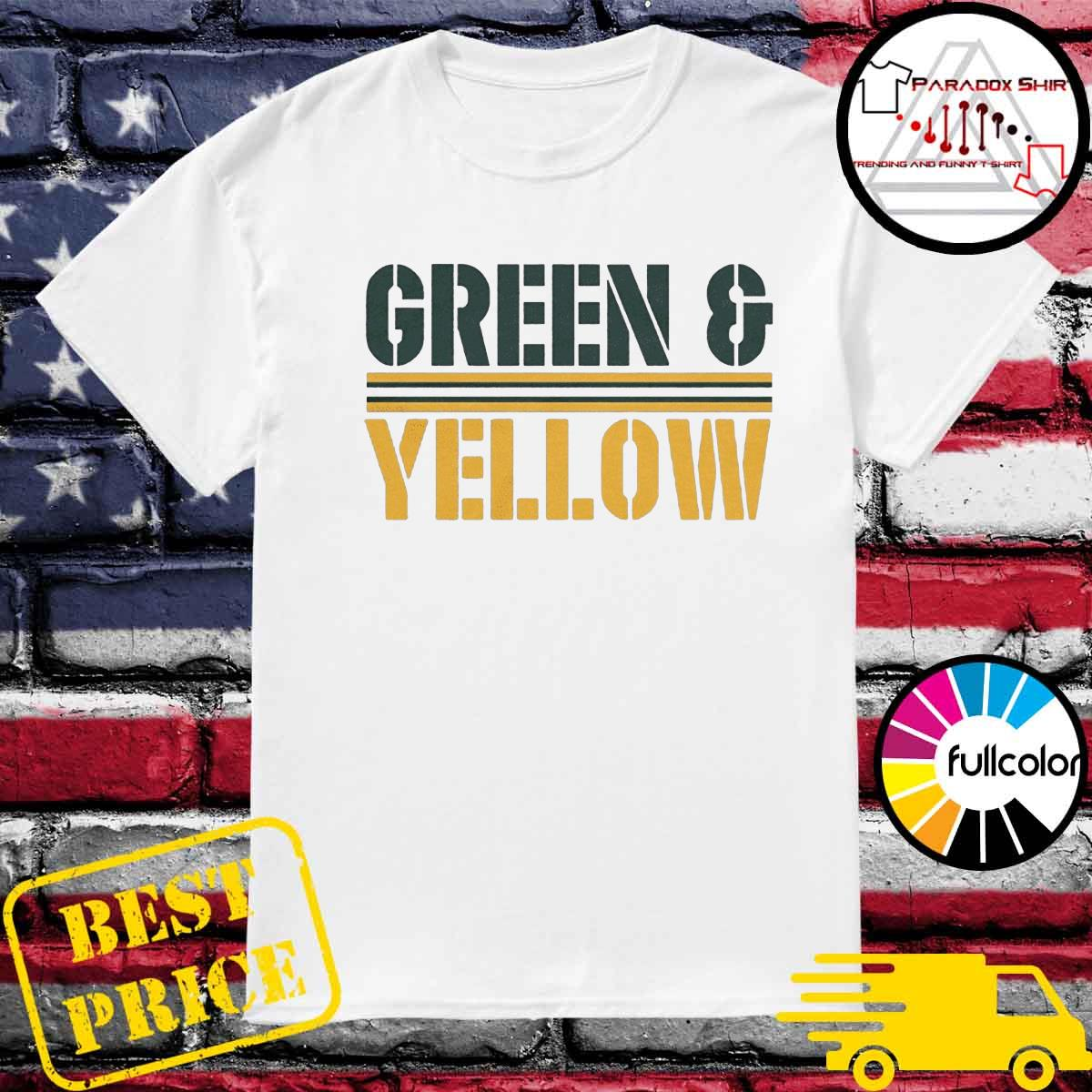 Green and yellow Green Bay football shirt