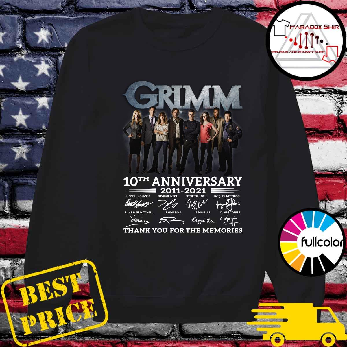 Grimm 10th Anniversary 2011 2021 Thank You For The Memories Signatures Shirt Sweater